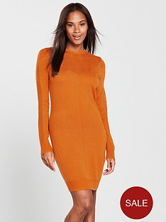 v-by-very-mesh-panel-detail-knitted-dress-spicy-orange
