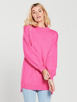 v-by-very-step-hem-turtleneck-slouch-longline-jumper-bright-pink