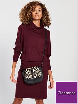 v-by-very-ribbed-skirt-slouch-roll-neck-knitted-dress-merlot
