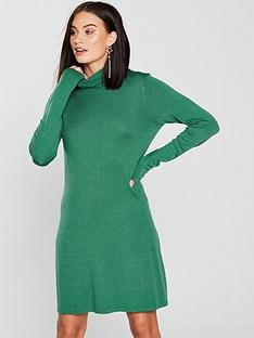 v-by-very-roll-neck-fit-and-flare-knitted-dress-dark-green