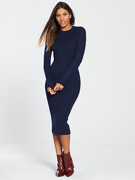 v-by-very-skinny-rib-split-hem-knitted-midi-dress-midnight-blue