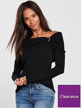 v-by-very-twist-shawl-collar-detail-rib-jumper-black
