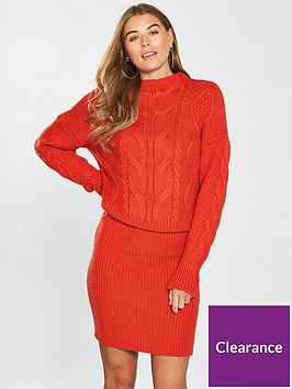 8b73a88d024c V by Very Cable And Rib Knitted Dress - Poppy Red