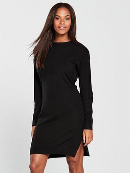 v-by-very-zip-shoulder-step-hem-knitted-dress-black