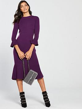 v-by-very-skinny-rib-fluted-hem-and-sleeve-knitted-dress-violet