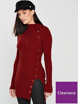 v-by-very-button-side-skinny-rib-longline-jumper-rust