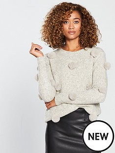 v-by-very-pom-pom-trim-jumper-grey-marl