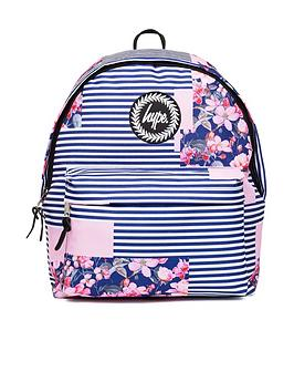 hype-patched-floral-stripe-backpack-multi