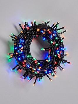 Product photograph showing Festive 200 Battery Operated Multicolour Indoor Outdoor Christmas Lights