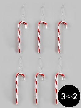 set of 6 glass candy cane christmas tree decorations littlewoodscom
