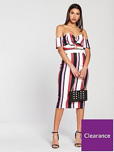 river-island-striped-bardot-dress-multi