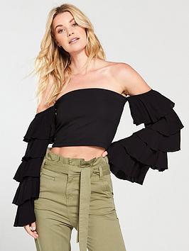 v-by-very-cropped-bardot-frill-sleeve-top-black
