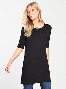 v-by-very-pocket-three-quarter-sleeve-tunic-black