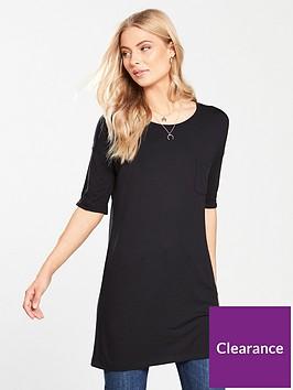 v-by-very-pocket-three-quarter-sleeve-tunic-black