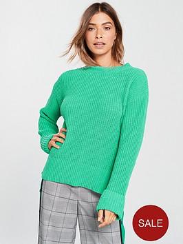 v-by-very-turn-back-cuff-rib-jumper-green