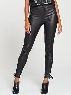v-by-very-coated-lace-up-hem-ella-jean-black