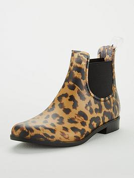 joules girls pvc chelsea boots - leopard print