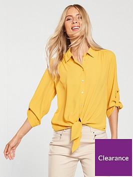 wallis-tie-front-shirt-ochre