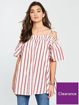 river-island-river-island-short-sleeved-striped-bardot-top-red