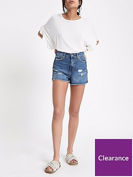 river-island-trim-side-denim-shorts-mid-blue