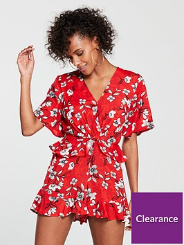 river-island-knot-front-printed-playsuit-red