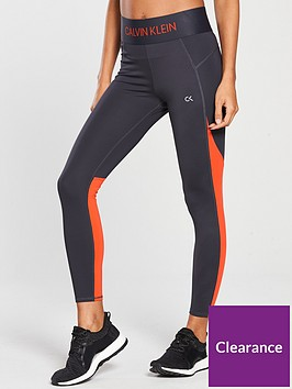 2c8d65d9b3a674 Calvin Klein Performance Performance 7/8 Panelled Tight - Grey/Orange