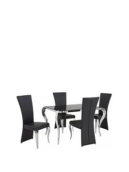 Very  Boutique 139 Cm Glass Dining Table + 4 Chairs