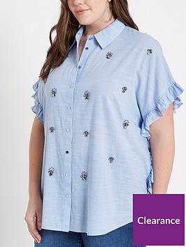 ri-plus-chambray-embellished-shirt-blue
