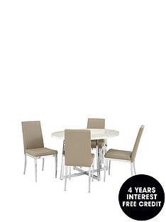 athena-130-cm-oval-marble-effect-dining-table-4-chairs
