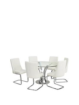 Very  Alice 130 Cm Round Dining Table + 6 Chairs