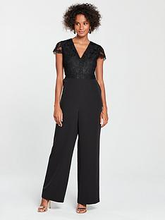 0d1807084ae2 V by Very Lace Top Culotte Jumpsuit - Black