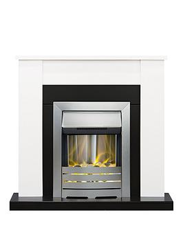 Adam Fire Surrounds Solus Fireplace Suite In White And Black With Helios Brushed Steel Electric