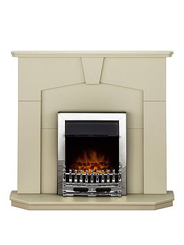 Adam Fire Surrounds Abbey Fireplace Suite In Stone Effect With Blenheim Chrome Electric