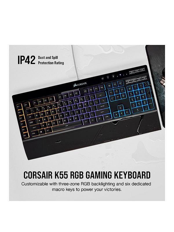 Corsair Gaming K55 RGB, Black, RGB LED, Rubber Dome