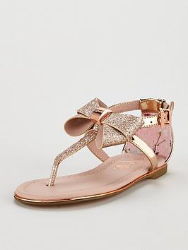 baker by ted baker girls toe post sandal - gold
