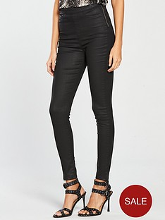 0c98f3a347 V by Very Charley High Waisted Super Skinny Coated Jegging - Black Coated