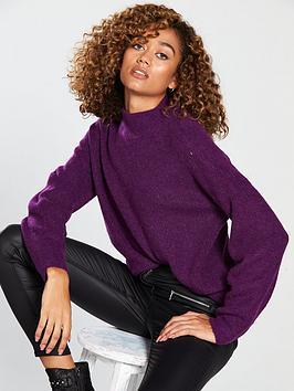v-by-very-premium-engineered-rib-volume-sleeve-jumper-purplenbsp