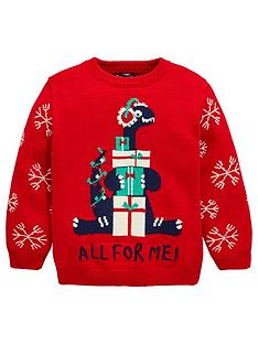 mini-v-by-very-boys-dinosaur-all-for-me-knitted-christmas-jumper-red
