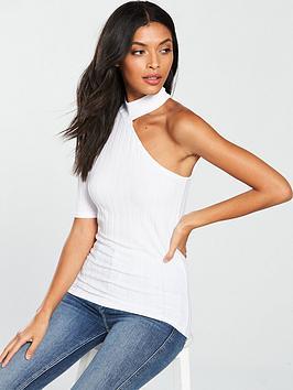 v-by-very-rib-one-shoulder-top-white