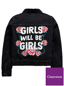 v-by-very-girls-back-slogan-denim-jacket-black
