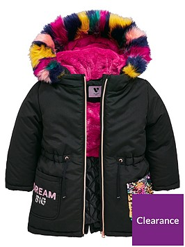 mini-v-by-very-girls-rainbow-sequin-multi-faux-fur-parka-coat-black