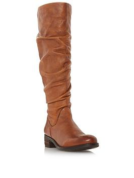 dune-london-tabatha-ruched-high-leg-boot-tan-leather