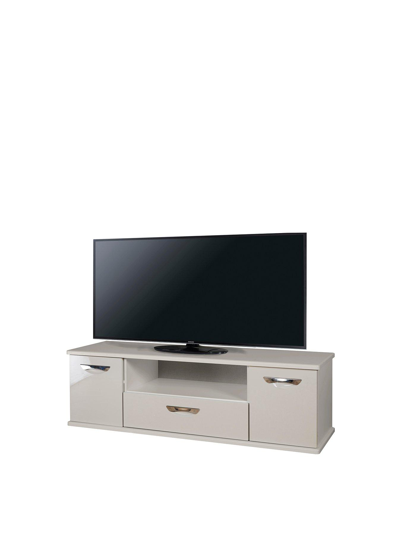Picture of: Grey 2 Drawer Home Source Corner Tv Stand Open Shelf Oak Top Metal Handles Runners Home Kitchen Living Room Furniture