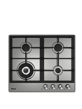swan-sxb75260ss-60cm-wide-gas-hob-with-wok-burner-stainless-steel