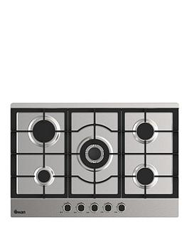 swan-sxb75275ss-75cm-wide-gas-hob-with-wok-burner-stainless-steel