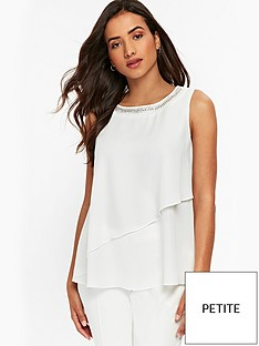 wallis-petite-embellished-neck-tiered-blouse-ivory