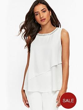 wallis-petite-embellished-neck-tiered-blouse-ivory