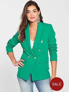 v-by-very-double-breasted-blazer-green