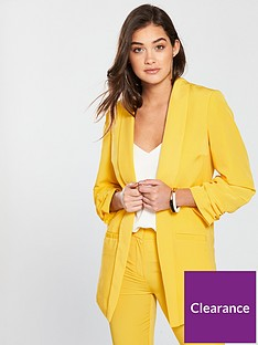 v-by-very-ruched-sleeve-blazer-ochre