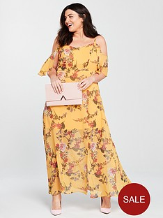 4f679efa946 V by Very Curve Cold Shoulder Maxi Dress - Yellow Print